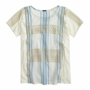 J. Crew Embroidered Striped Top